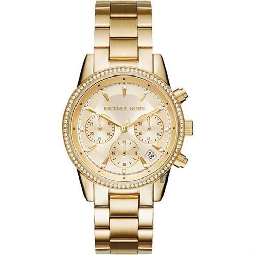 Michael Kors MK Ritz晶鑽計時錶腕錶-金/36mm MK6356