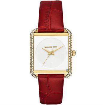 Michael Kors MK 古典晶鑽腕錶-白x紅錶帶/33mm MK2623