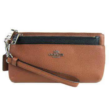 COACH 素面皮革雙層拉鏈長夾手拿包附收納袋(咖)