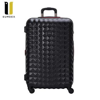 【SUMDEX】菱格紋PC耐刮行李箱/登機箱20吋 SWR-1551/RB(黑色) /RR(紅色)/MS(銀色)