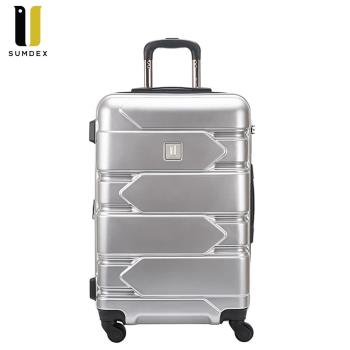【SUMDEX】鏡面橫紋行李箱 25吋SWR-1572RB(黑色) /RR(紅色)/MS(銀色)/BP(紫色)