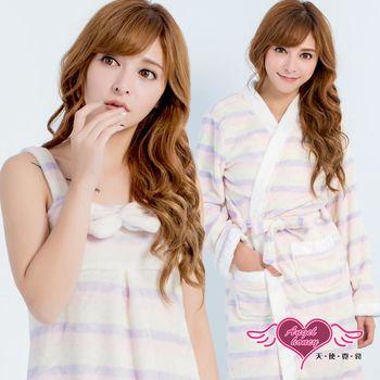 天使霓裳 保暖睡袍 恬淡純真 柔軟法蘭絨條紋二件式綁帶睡衣(彩F) UC17217