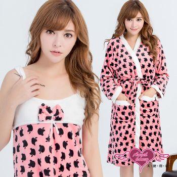 天使霓裳 保暖睡袍 咬口蘋果 柔軟法蘭絨二件式綁帶睡衣(深粉F) UC8995