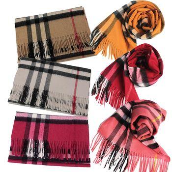 BURBERRY經典格紋100%喀什米爾羊毛圍巾(6色)