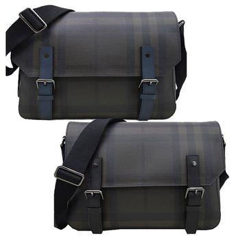 BURBERRY -經典格紋橫式灰皮吸釦翻蓋斜側背包-2色