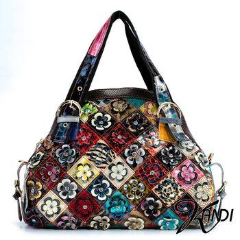 【KANDI】彩色花朵藝術肩背包(共2色4款)