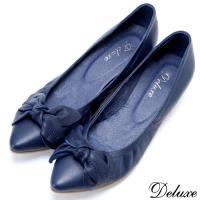 【Deluxe】全真皮魅惑蝴蝶藍小坡跟尖頭包鞋(藍)-8389-25
