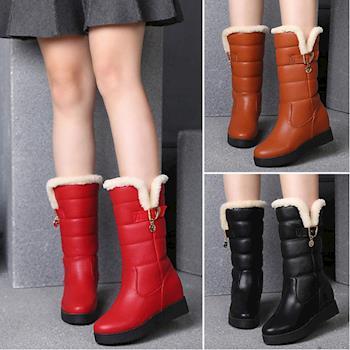 【森之舞】韓版限定-保暖絨皮革中筒型雪靴(咖啡/紅/黑)預購+現貨