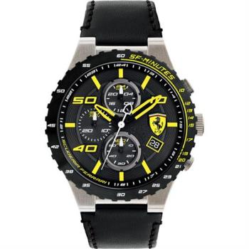 Scuderia Ferrari 法拉利 evo 三眼計時腕錶-黑x黃時標/46mm 0830360