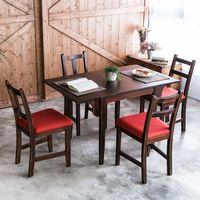 CiS自然行實木家具-雙邊延伸實木餐桌椅組一桌四椅74x122公分焦糖+橘紅椅墊