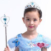 【天使霓裳】道具 冰雪公主 萬聖節派對兒童仙女棒皇冠組合(共兩色) HW14930