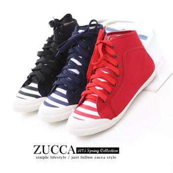 ZUCCA【Z5828】率性條紋布繫帶休閒鞋-紅色/黑色