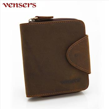 vensers小牛皮潮流個性皮夾咖啡短夾NB0027201