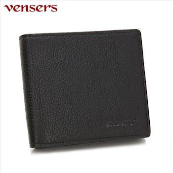 【vensers】小牛皮潮流個性皮夾~NB0280201黑色短夾