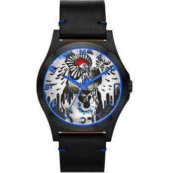 Marc Jacobs Holiday Henry 塗鴉藝術沙皮狗腕錶-黑/40mm MBM8622