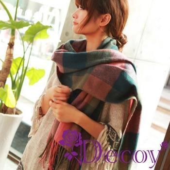 【Decoy】蘇格蘭格紋*寬版編織圍巾/粉綠