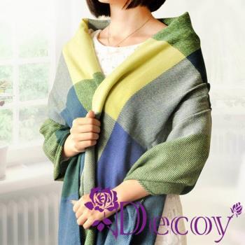 【Decoy】蘇格蘭格紋*寬版編織圍巾/藍綠