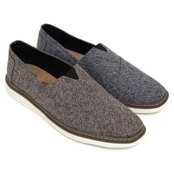 【GREEN PHOENIX】經典混色毛呢套入式平底休閒懶人鞋(男鞋)-咖啡色、黑色