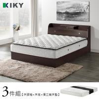 【KIKY】二代武藏-小抽屜加高雙人5尺三件組(床頭箱+床底+床墊)