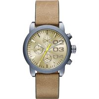 DIESEL Flare 美式狂潮計時腕錶-黃x卡其/40mm DZ5462