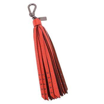 COACH 釘扣皮革流蘇造型吊飾(橘紅)