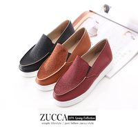 ZUCCA【Z6022】日系漆皮豹紋厚底包鞋-紅色/棕色/黑色