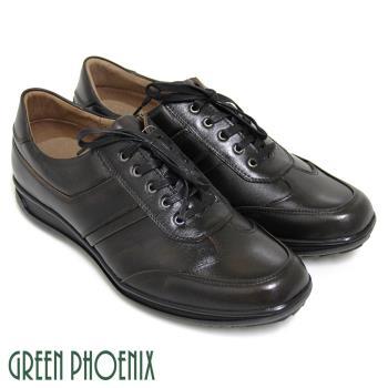 GREEN PHOENIX 熟男經典線條綁帶全真皮平底休閒皮鞋(男鞋)T9-11501
