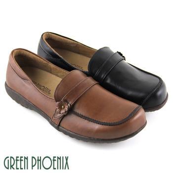 【GREEN PHOENIX】簡單立體小花朵套入式臘感牛皮厚底休閒鞋-棕色、黑色