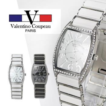 【Valentino范倫鐵諾】經典鑲鑽酒桶型陶瓷手腕錶