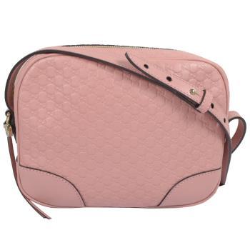 GUCCI 449413 經典雙G緹花皮革壓紋斜背小方包.粉紅