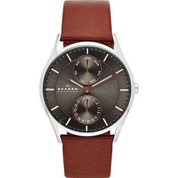 SKAGEN 都會日曆石英腕錶-灰x咖啡色錶帶/40mm SKW6086