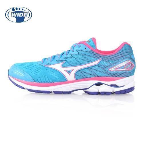 【MIZUNO】WIDE WAVE RIDER 20 女慢跑鞋-寬楦 美津濃 湖水藍桃紅