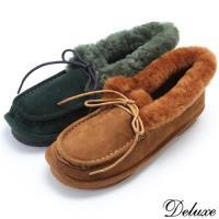 【Deluxe】全真皮溫暖綿羊毛莫卡辛包鞋(黑☆棕☆綠)-666-1