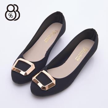 【88%】MIT台灣製 低調時尚 OL上班族 方型金屬造型 小楔型3.5cm跟鞋 圓頭包鞋 娃娃鞋