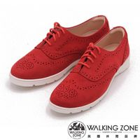 WALKING ZONE 英倫風巴洛克雕休閒鞋 女鞋-紅(另有藍、黃)