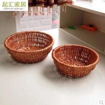 [協貿國際]  家居純手工柳編收納筐藤柳編圓形水果盤