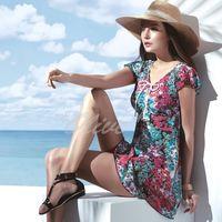 【沙兒斯品牌】繽紛花簇圖騰時尚二件式連身裙泳裝 NO.B92646