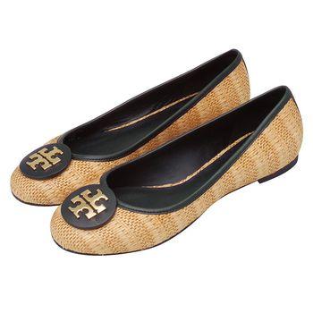 TORY BURCH 立體金色LOGO竹藤編織牛皮飾邊平底娃娃鞋(淺棕X深藍色)