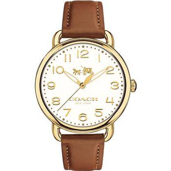 COACH Delancey 紐約摩登女錶-金框x咖啡/36mm 14502561