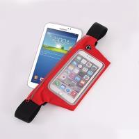 【活力揚邑】防水防竊可觸控彈性反光手機平板腰包腰帶-7吋以下通用 紅色