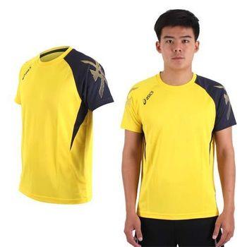 【ASICS】男排羽球短袖T恤-排球 羽球 訓練 亞瑟士 黃丈青
