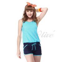 【沙兒斯品牌】俏麗小圓點兩件式連身褲泳裝 NO.B82417