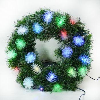20 吋LED松果燈光纖聖誕花圈