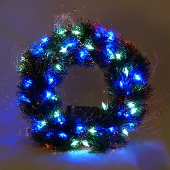 20 吋LED星星燈光纖聖誕花圈