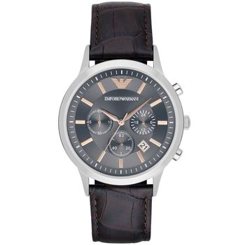Emporio Armani 亞曼尼 Classic 三眼計時腕錶-灰x咖啡/44mm AR2513