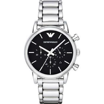 Emporio Armani Classic 復刻品味經典計時腕錶-黑/41mm AR1853