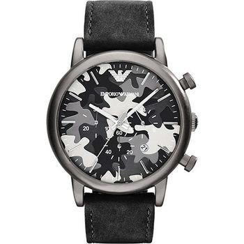 ARMANI Classic 軍迷彩式風格計時腕錶-黑/46mm AR1816