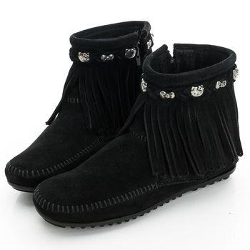 MINNETONKA KITTY聯名 黑色平底流蘇短靴