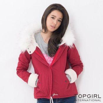 【TOP GIRL】毛毛帽造型夾克 -共二色