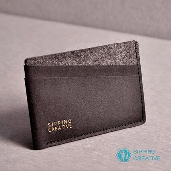 俬品創意 - 設計款紙革信用卡夾-極簡黑